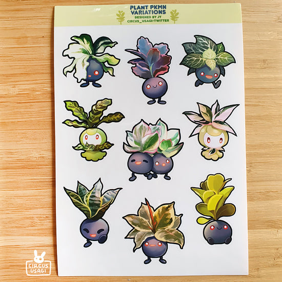 Transparent sticker sheet | Plant pkmn variations