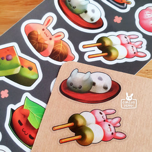 Transparent sticker sheet | Wagashi wabbits
