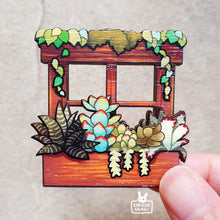 Load image into Gallery viewer, Wooden pin | Window of succulents