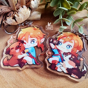 Acrylic charms | Link pets the dog