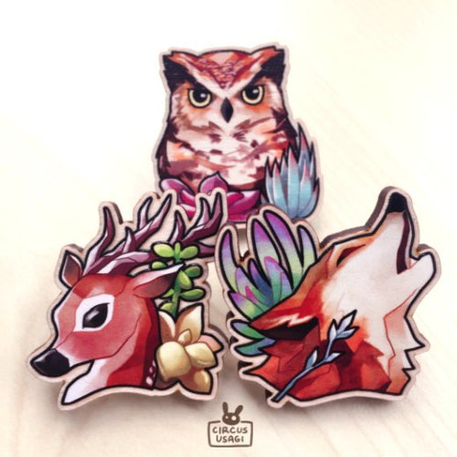 Wooden pin-on | Woodland creatures