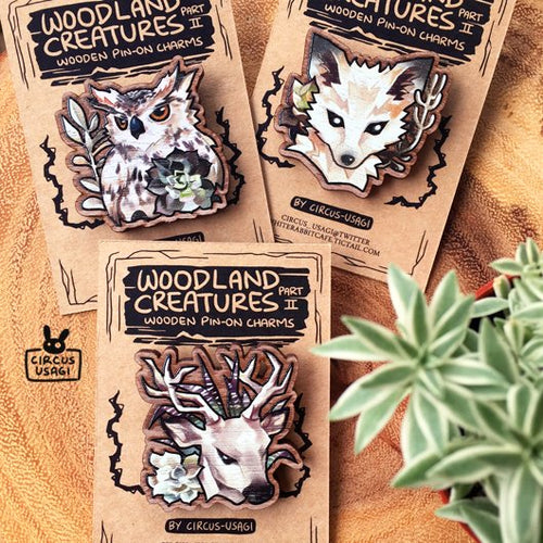 Wooden pin-on | Woodland creatures II