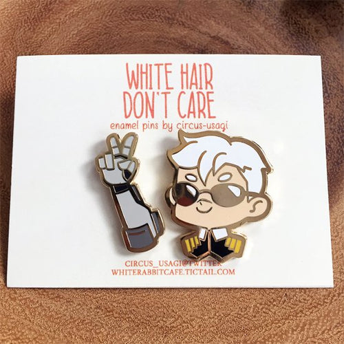 Enamel pins | White hair don't care (set)