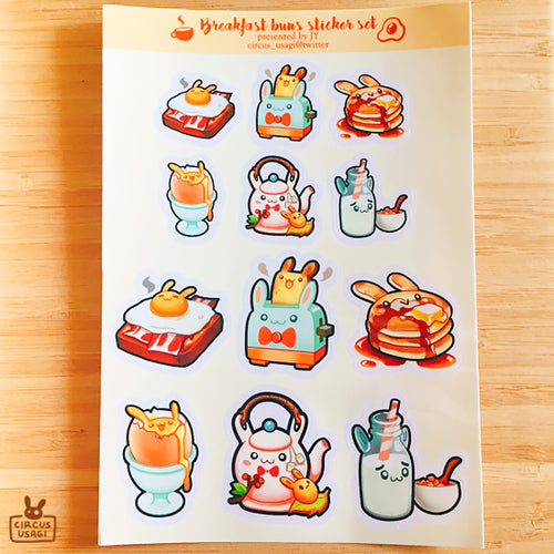 Transparent sticker sheet | Breakfast buns
