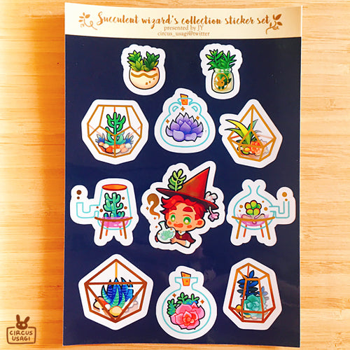 Transparent sticker sheet | Succulent wizard's collection