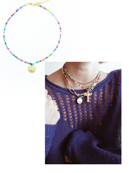 Collier Indiana, multicouleur