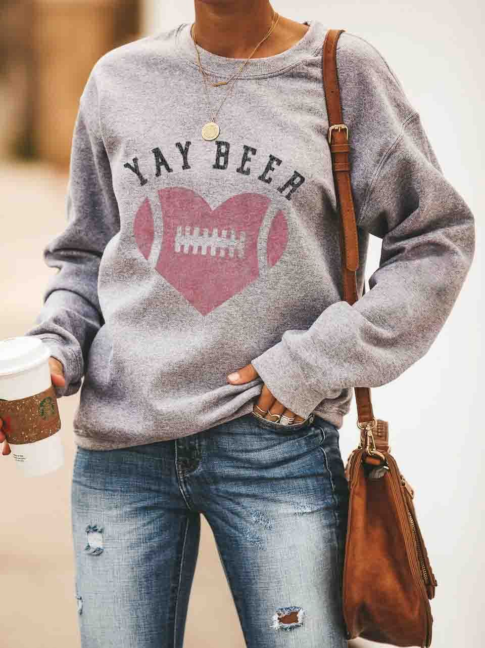 YAY BEER Football Pullover