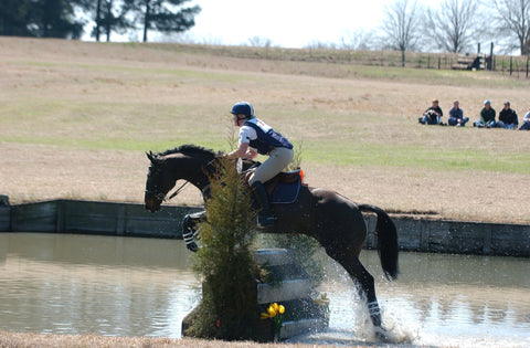 Horse in 3 ring elevator bit water to water jump at Pine Top