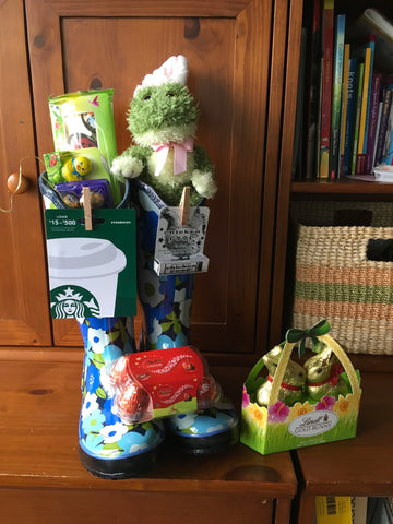 Easter Basket Idea in Rainboots