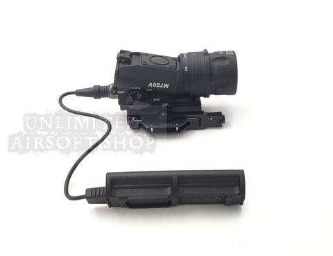 Airsoft tactical Torch flashlight with rail tail Black