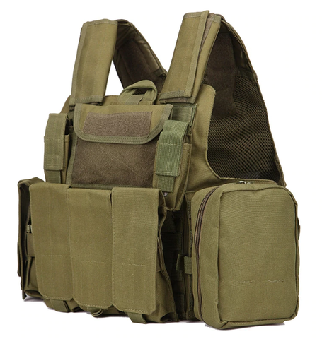 Airsoft Molle Tactical Strike Plate Carrier Vest - OD Green