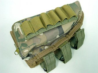 Rifle Stock Ammo Pouch with Cheek Leather Pad - Multicam