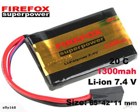Firefox 7.4V 1300mAh LiPolyme Battery 20C - Square