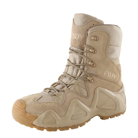 Men  Combat Training  Leather Wearproof Tactical Boots- Tan