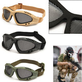 actical Goggles Eyewear Steel Wire Mesh-TAN