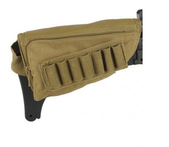 Rifle Stock Ammo Pouch with Cheek Leather Pad - Tan