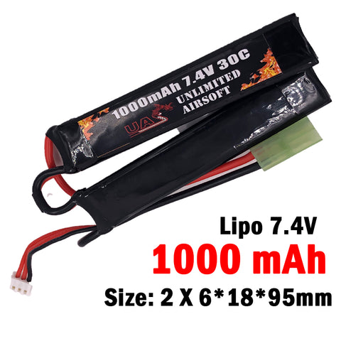 Airsoft 7.4V 1000mAh 30C Lipo Battery - Nunchuck Type