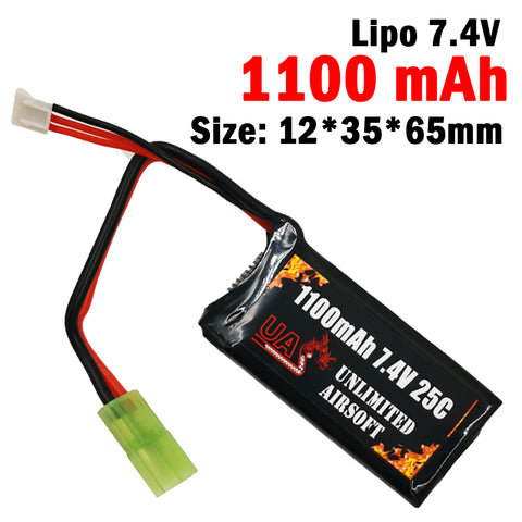 Airsoft 7.4V 1100mAh 25C Lipo Battery - Brick Type