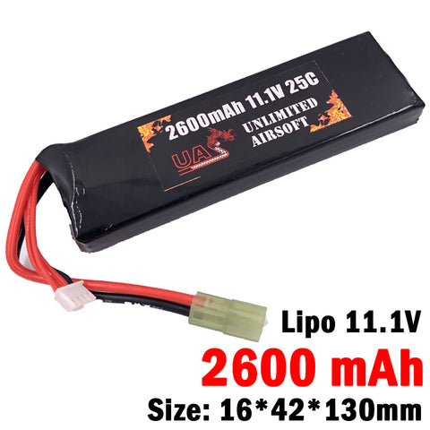 Airsoft 11.1V 2600mAh 25C Lipo Battery - Brick Type