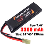 Airsoft 7.4V 3300mAh 25C Lipo Battery - Brick Type
