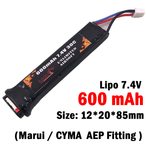 Airsoft 7.4V 600mAh Lipo Battery for Marui/CYMA AEP