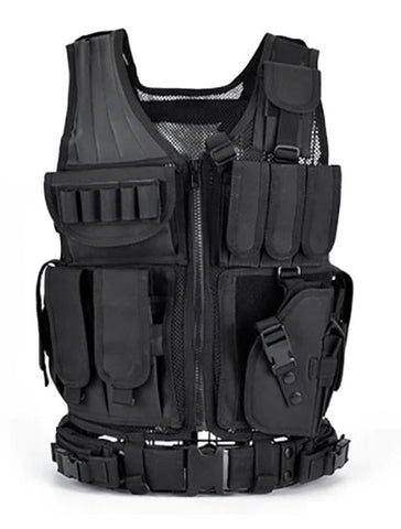 Tactical Equipment Military Vest Hunting Armor Airsoft Gear Paintball Combat Protective-BLACK