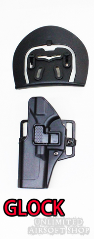 Airsoft Holster with Beltloop for Glock 17 / 18 Black left hand