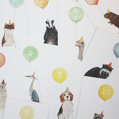Balloon Animal Cards Numbered 1 -10
