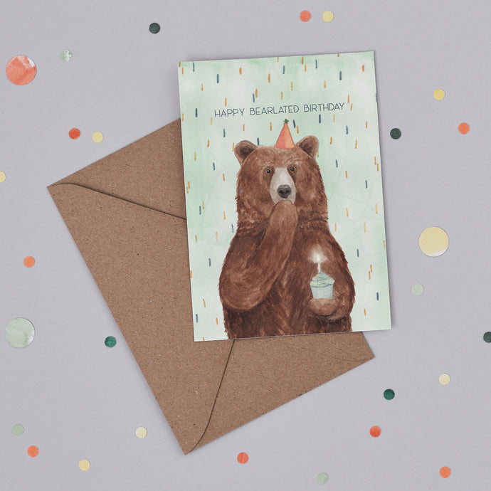 Happy Bearlated Birthday Card