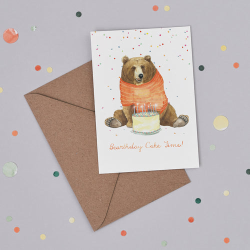 Bearthday Cake Time Birthday Card
