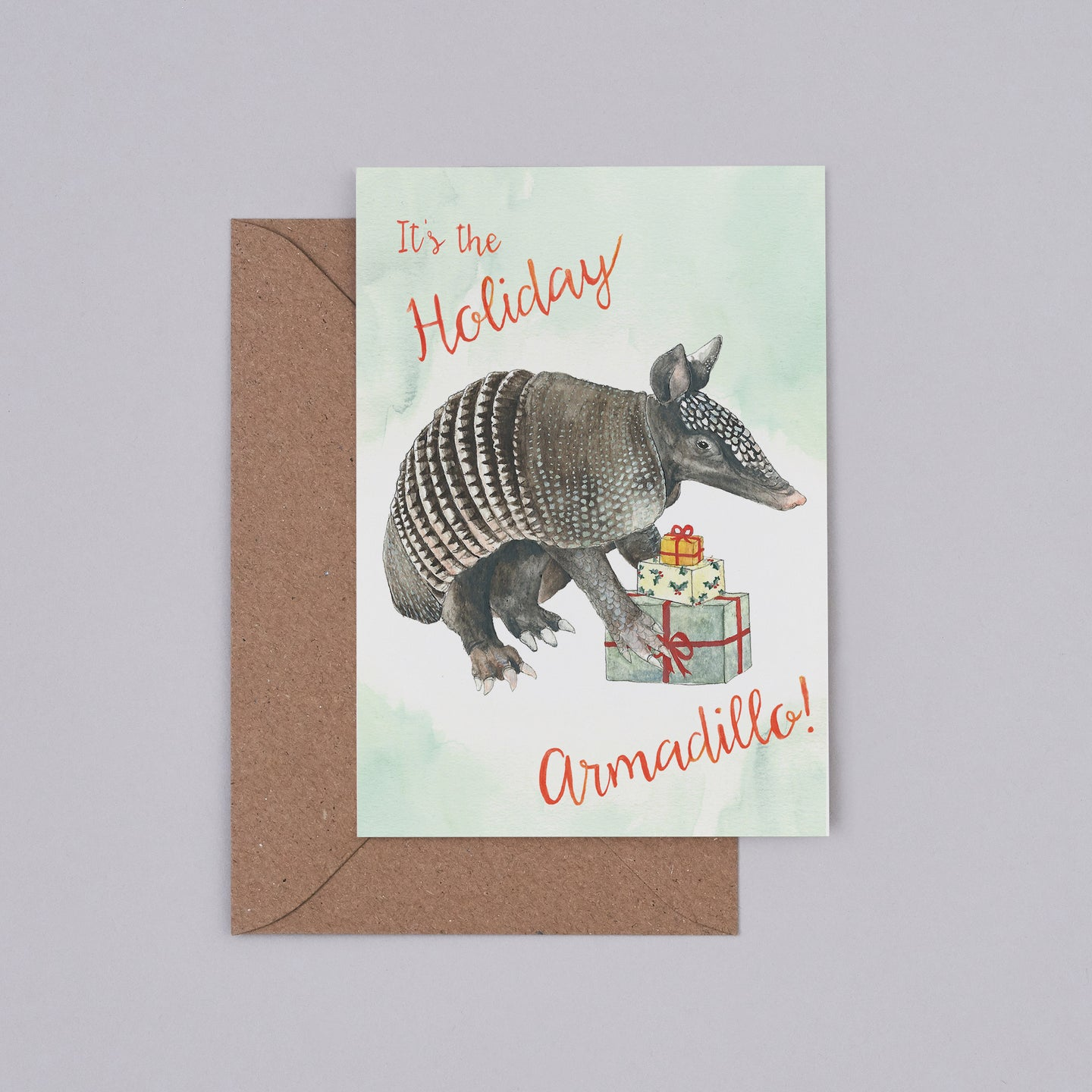 Holiday Armadillo Christmas Card