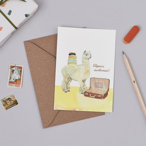 Alpaca Suitcase Card