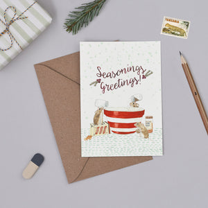 Seasonings Greetings Christmas Card