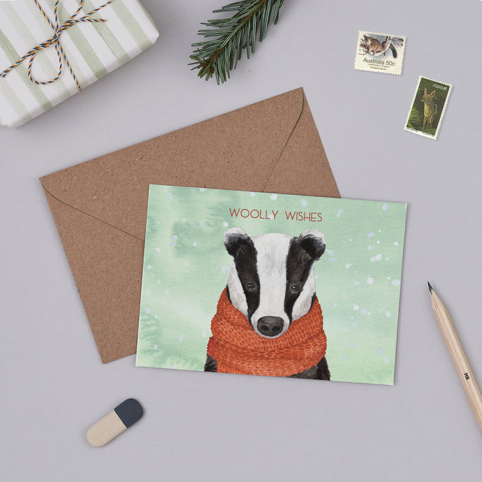 Woolly Wishes Badger Christmas Card