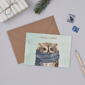 Woolly Wishes Owl Christmas Card