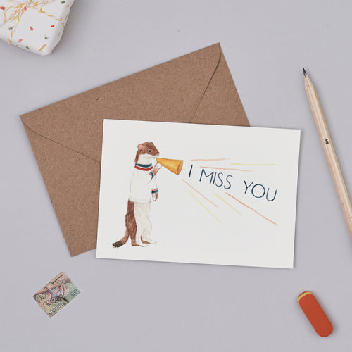 I Miss You Cheerleader Card