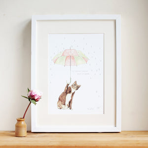 Never Rains But Paws Print