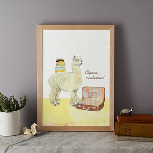 Alpaca Suitcase Pun Print On mantlepiece