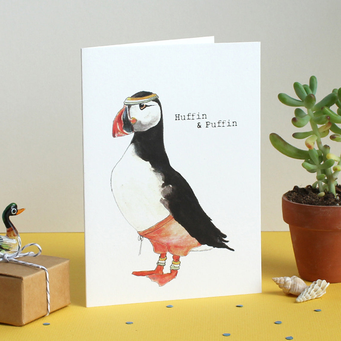 Huffin and puffin card