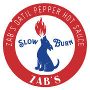 Zab's datil pepper hot sauce logo and stamp in red