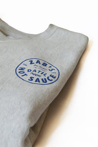 Folded Crew Neck Sweatshirt with Zab's hot sauce logo in  blue