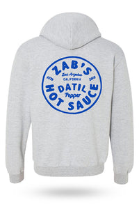Hoodie in grey with Zab's logo in the back