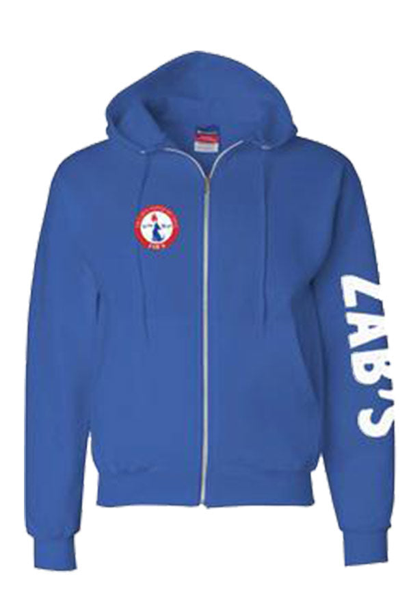 Mtn. Sweater in blue with zipper front view