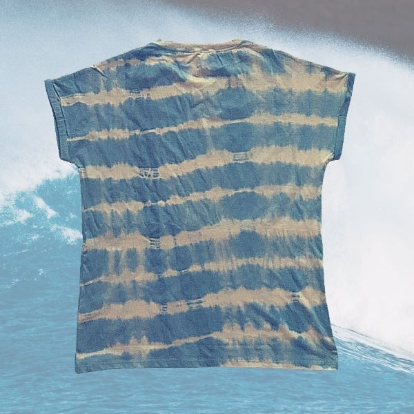 Ocean Waves -Men's V-Neck T Shirt - Hand Dyed with True Indigo and Aloe Vera