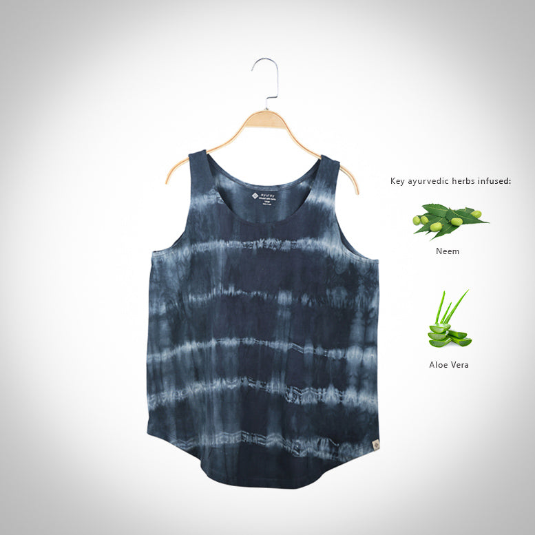 Neem & Aloe Vera infused Flared  T-shirt  - Gray Tie and Dye