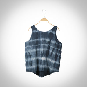 Flared  T-shirt (Women) - Gray Tie and Dye