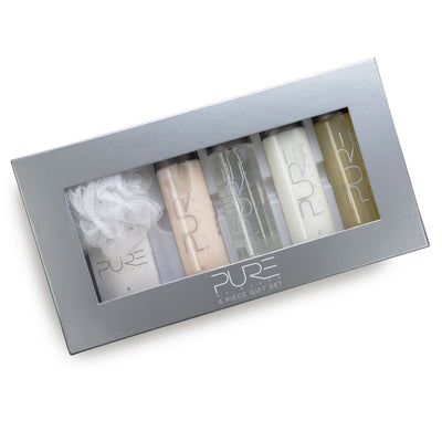 Pure by Gloss Gift Set – 6-Piece Luxury Collection w/ Shampoo [8.5oz], Conditioner [8.5oz], Body Wash [8.5oz], Body Lotion [8.5oz], Body Bar [4.0oz] & Loofah – Fresh Lemon Scent