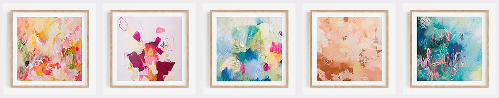 Select of 5 colourful art prints by Australian Abstract Artist Rose Hewartson