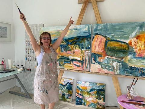 Australian abstract artist Rose Hewartson in her studio