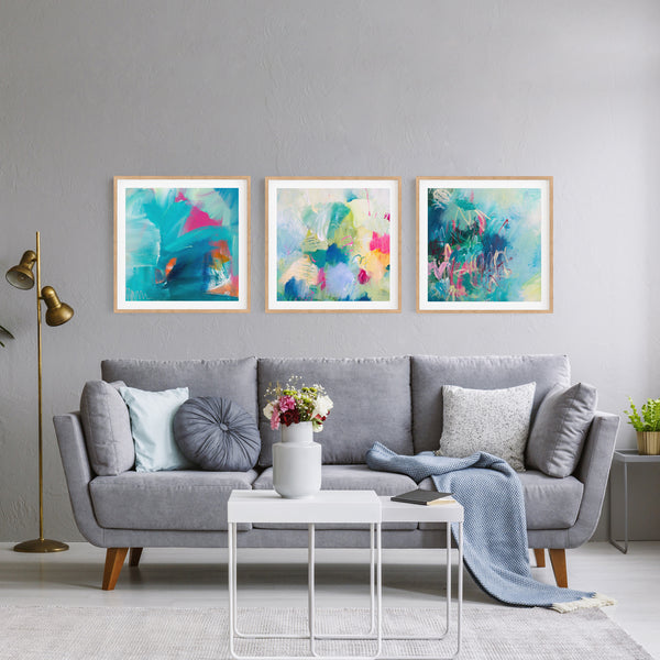 Colourful Abstract Art Set Blue